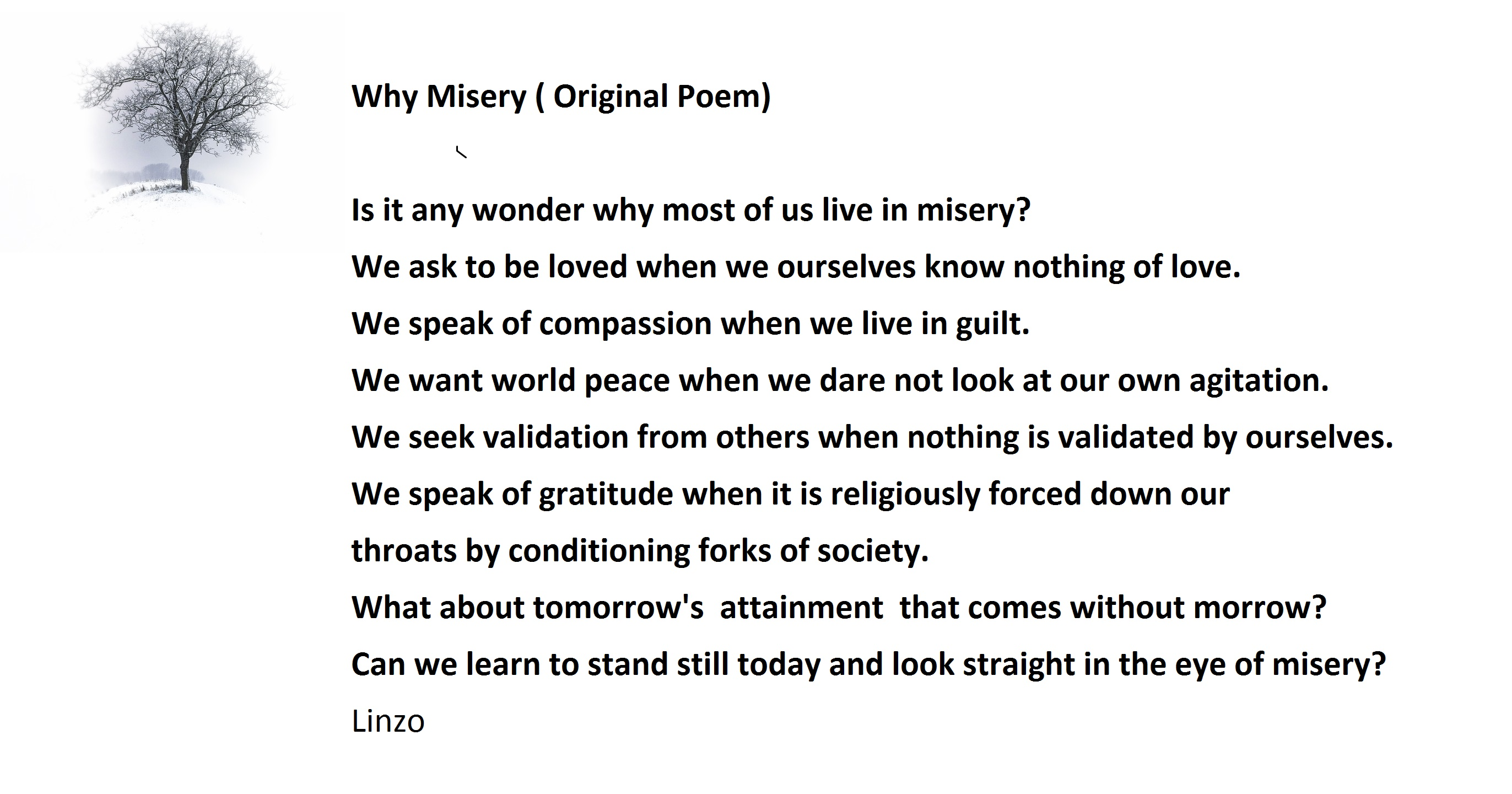 Why Misery ( Original Poem)