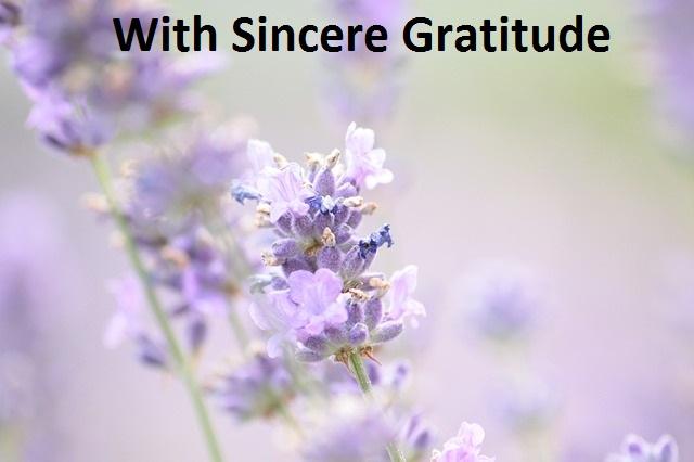 With Sincere Gratitude (Original poetry)